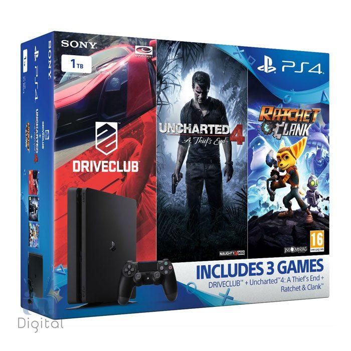 کنسول سونی مدل PlayStation 4 Slim ظرفیت ۱ ترابایت ریجن ۱ پک سه بازی
