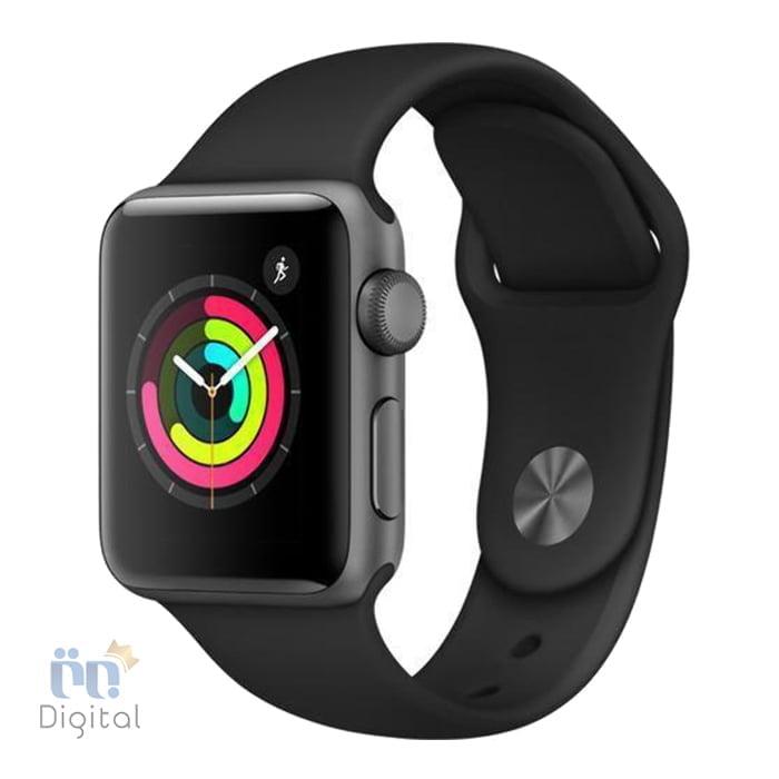 ساعت هوشمند اپل واچ سری ۳ مدل ۴۲mm Space Grey Aluminum Case with black Sport Band -MQL12 ابزارهای پوشیدنی ساعت هوشمند