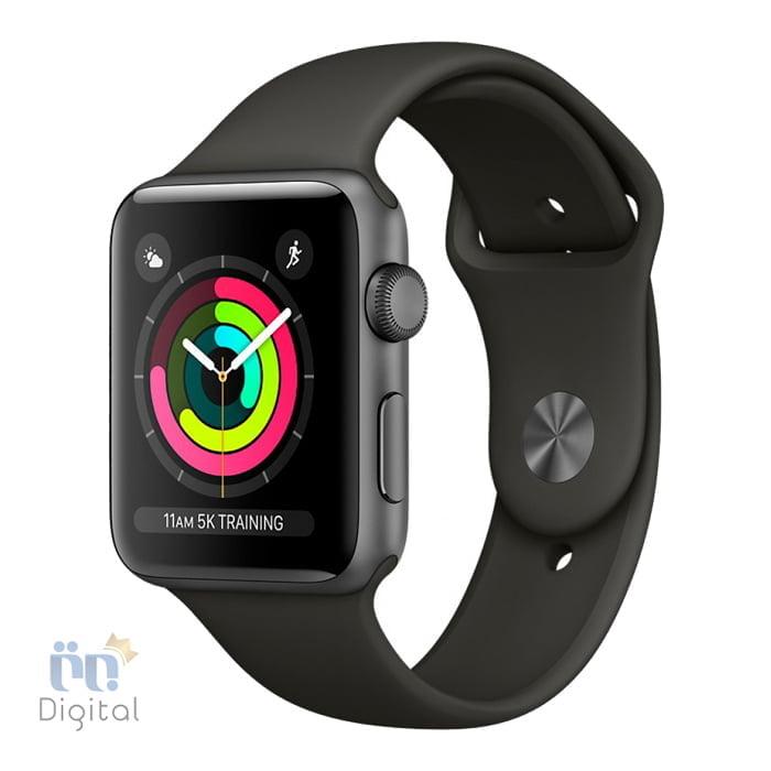 ساعت هوشمند اپل واچ سری ۳ مدل ۳۸mm Space Gray Aluminum Case with Gray Sport Band -MR352 ابزارهای پوشیدنی ساعت هوشمند