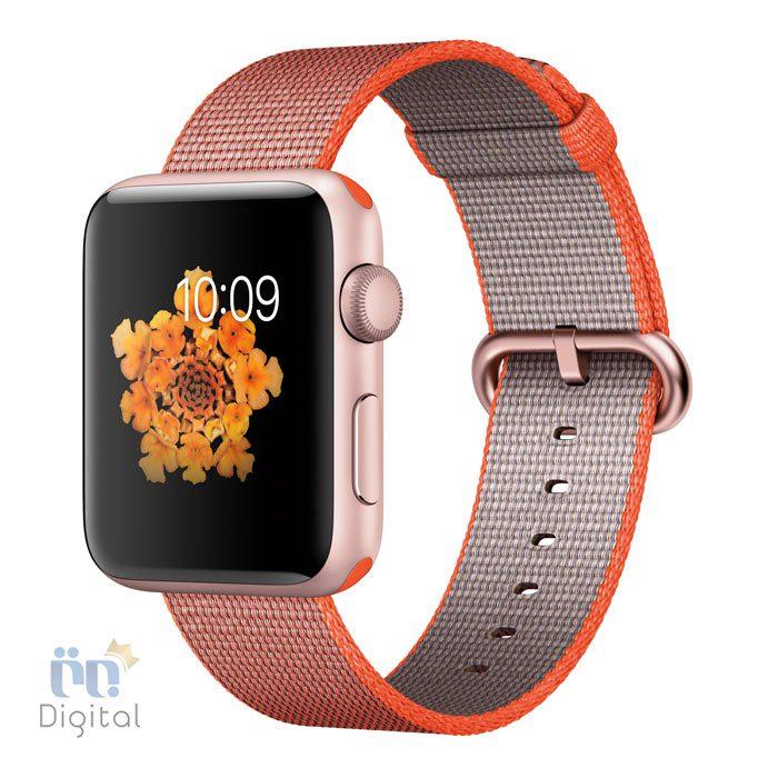 ساعت هوشمند اپل واچ سری ۲ مدل ۴۲mm Rose Gold Aluminum Case with Space Orange/Anthracite Woven Nylon -MNPM2 ابزارهای پوشیدنی ساعت هوشمند