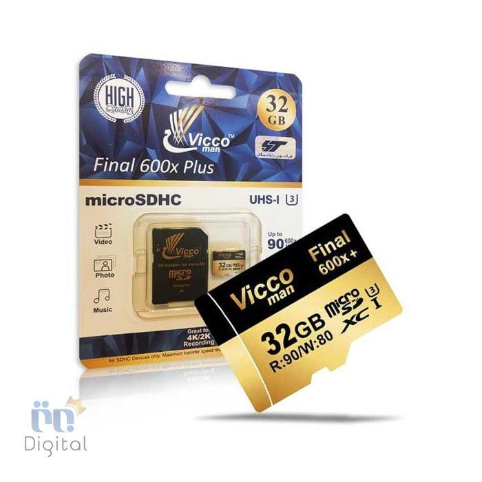 کارت حافظه microSDHC ویکو من مدل Extra 600X کلاس ۱۰ استاندارد UHS-I3  سرعت ۹۰MBps همراه با آداپتور SD لوازم جانبی فلش و کارت حافظه
