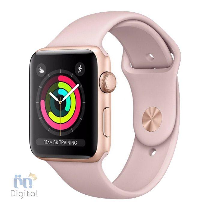 ساعت هوشمند اپل واچ سری ۳ مدل ۴۲mm Gold Aluminum Case with Pink Sand Sport Band -MQL22 ابزارهای پوشیدنی ساعت هوشمند