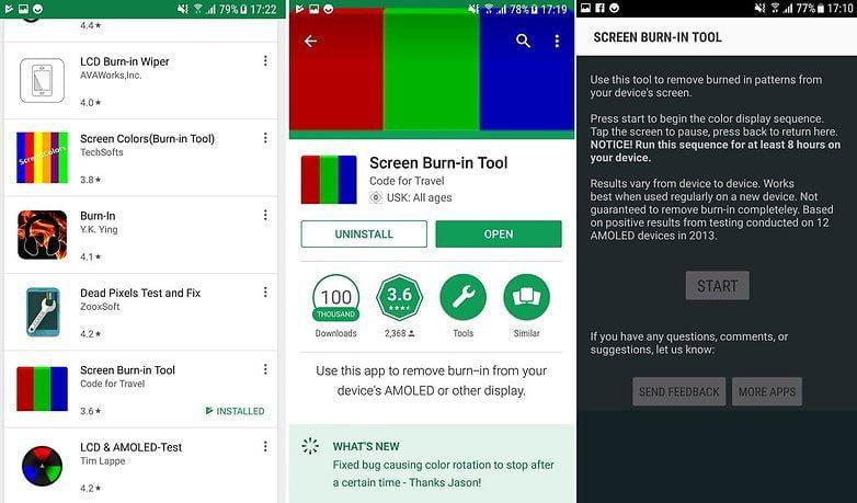 برنامه Screen Burn-in Tool برای حل مشکل سایه انداختن گوشی