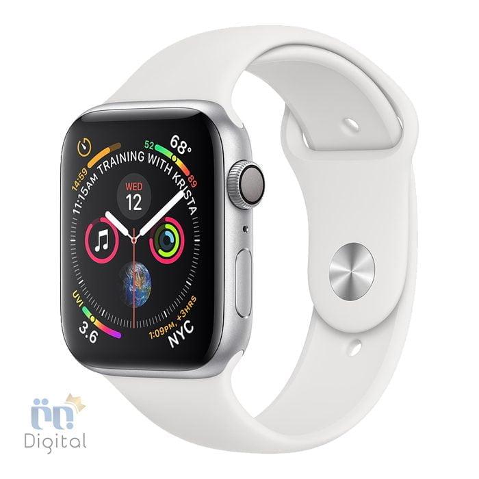 ساعت هوشمند اپل واچ سری ۴ مدل ۴۴mm Silver Aluminum Case with White Sport Band ابزارهای پوشیدنی ساعت هوشمند