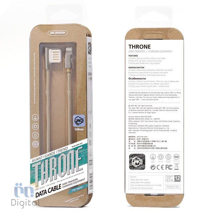 کابل تبدیل لایتنینگ به USB دبلیوکینگ مدل WDC-007 Throne طول ۱ متر لوازم جانبی کابل