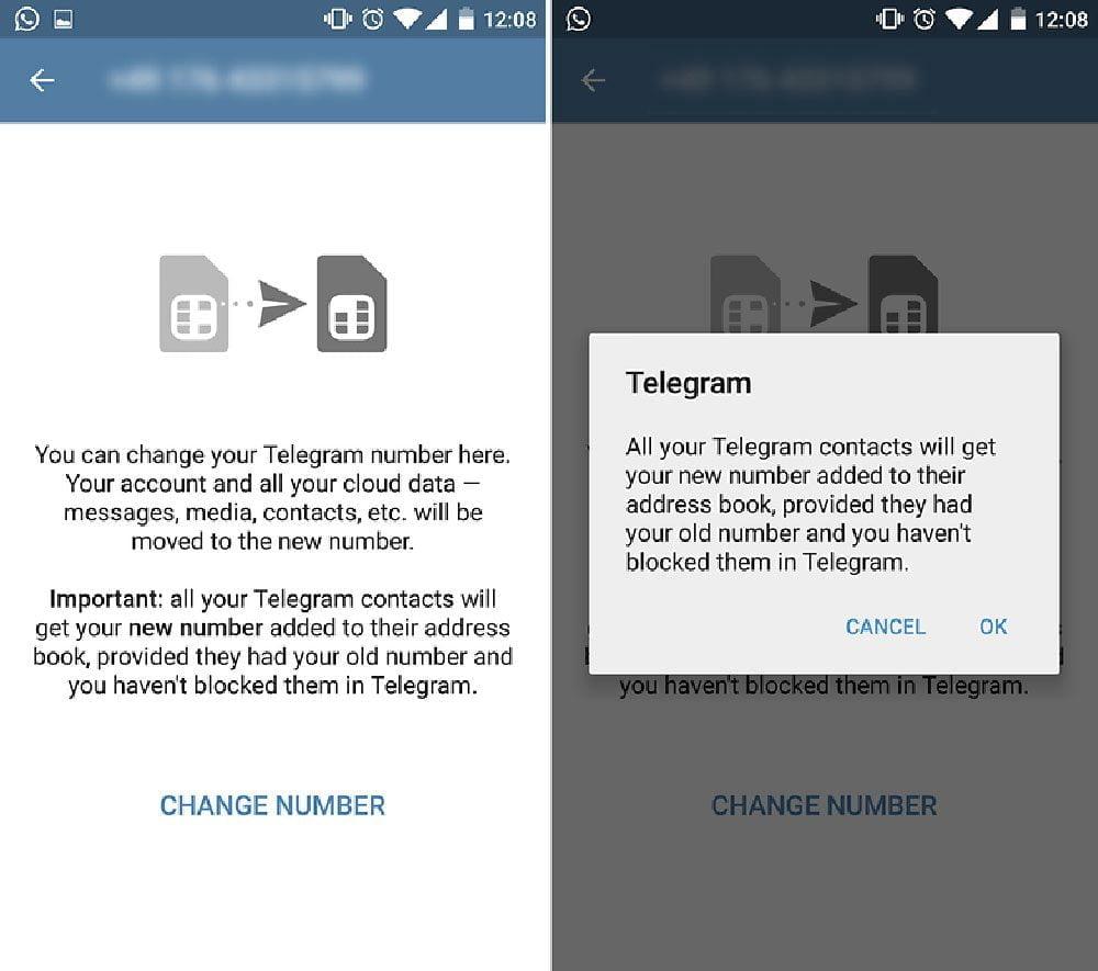 تغییر شمارهتلفن همراه در تلگرام